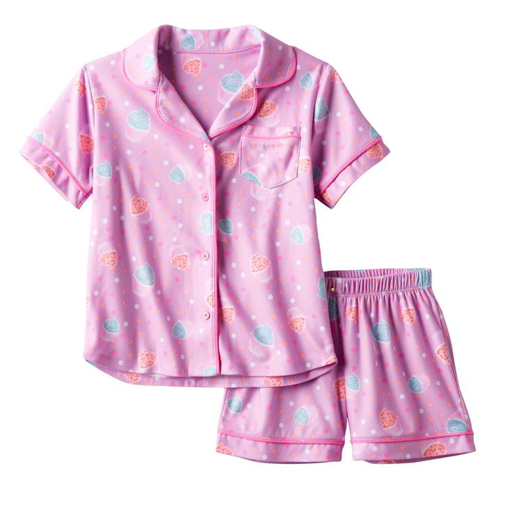 Girls 4-16 SO® Print Short-Sleeved Top & Shorts Pajama Set, Girl's, Size: Xs (5/6), Brt Purple