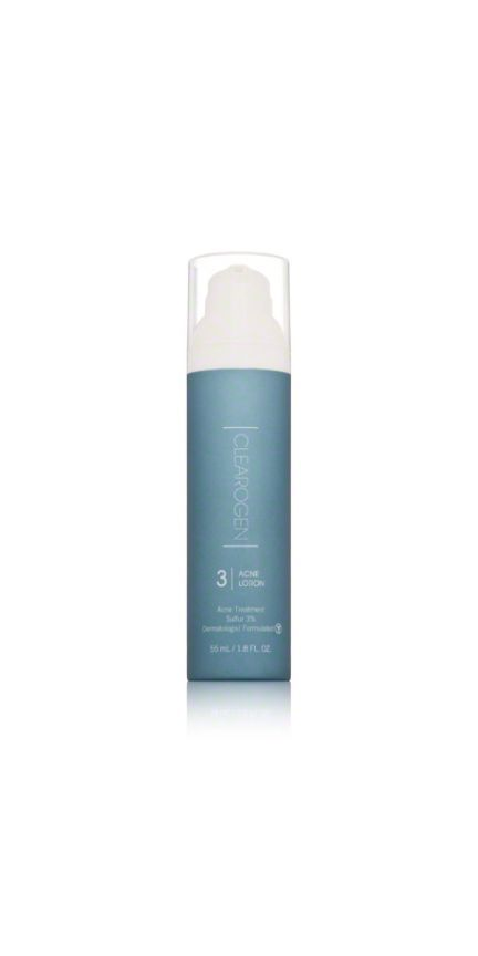 Clearogen Acne Lotion: Another option for acne and rosacea, this light lotion contains sulfur, which helps clear breakouts, as well as green tea, aloe vera, and antioxidants to help soothe and heal skin. Dr. Katz notes that sulfur and green tea are great ingredients for rosacea(check out 15 green tea skincare products).