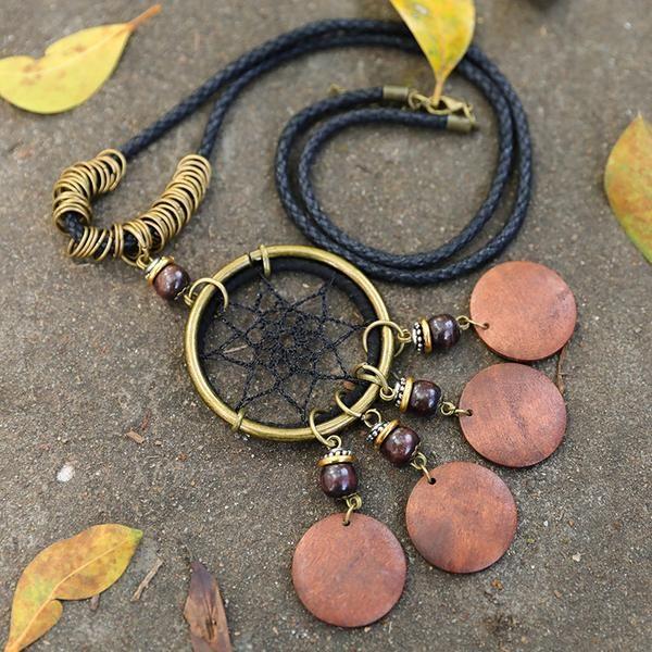 Dreamcatcher Wooden Piece Metal Ring Retro Unisex Necklace