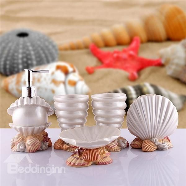 glorious style sea shell pearl bath ensembles bathroom accessories