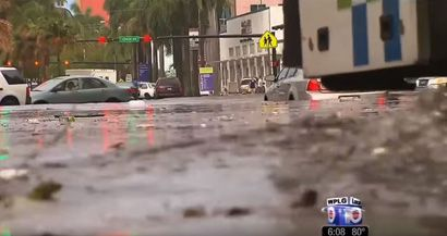 Flooded street in Miami. Connecting Local Flooding to Climate Change People need to hear information about global warming and flooding repeatedly, from a number of experts. http://www.yaleclimateconnections.org/2016/02/connecting-local-flooding-to-climate-change/