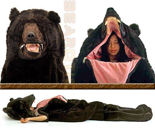 roarrrr!! fake bear sleeping bag.  Love it!