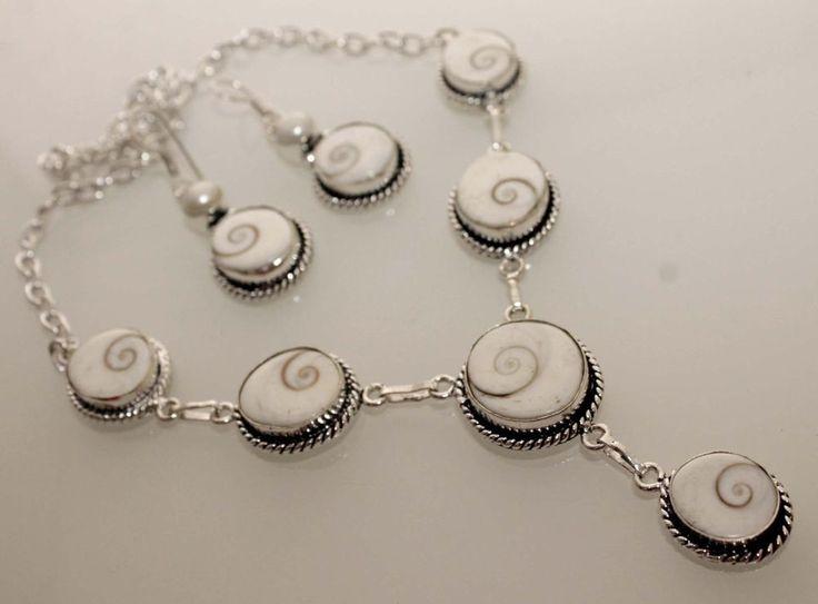 VINTAGE HOLY WHITE SHIVA EYE 925 STERLING SILVER OVERLAY NEW NECKLACE+Err NE512 #Handmade