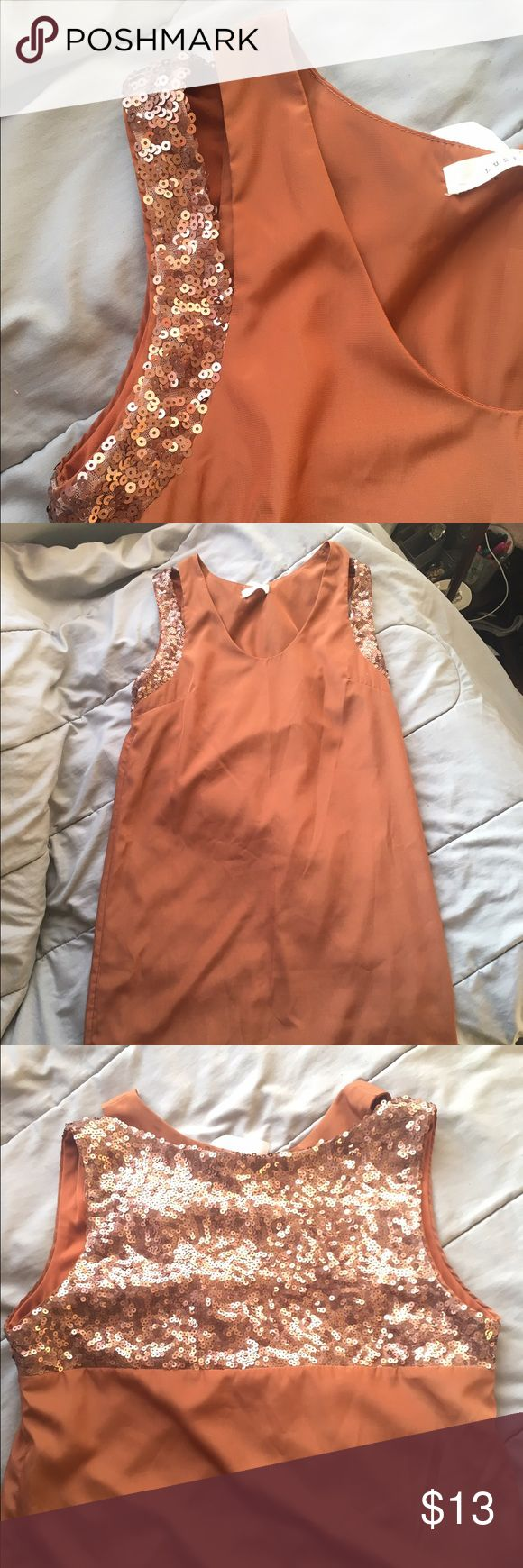 Beautiful brown sequined dress Short brown dress with sequins in the back. Will ship next day. Make an offer.  *not from Windsor* WINDSOR Dresses