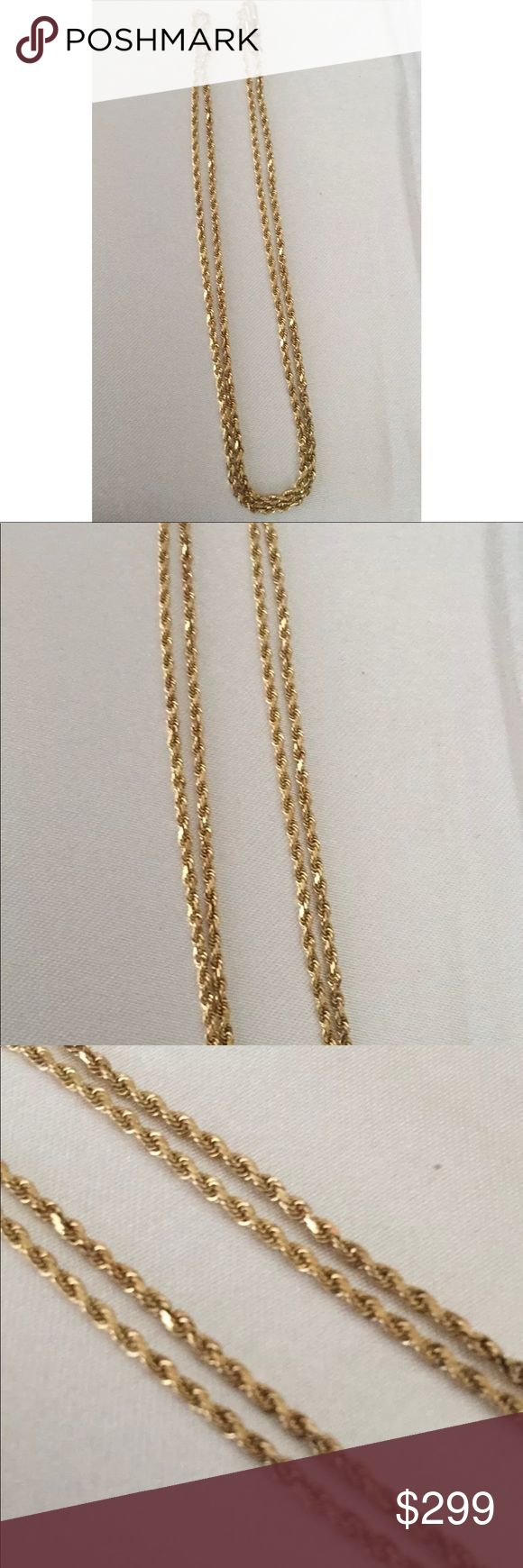 "14k Solid genuine yellow Gold Rope chain 19"" 14k Solid genuine yellow Gold Rope chain 19"" Necklace 5.6 grams with safety clasp 2mm wide Excellent condition weighs 5.6 grams Vintage Jewelry Necklaces"