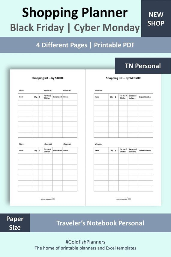 Tn Shopping Planner Black Friday Cyber Monday Shopping List Incl Notes Pages Travelers Notebook Per Cyber Monday Travelers Notebook Cyber Monday Shopping
