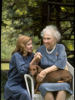 Helen Keller and Patty Duke -- For those who do not get the significance of this meeting -- Patty Duke played Keller in both the play and the film The Miracle Worker, for which she won the Oscar at age 16.  Two extraordinary women. Then when Patty Duke got older she played Anne sullivan as an adult, Anne Sullivan was Helen's teacher.
