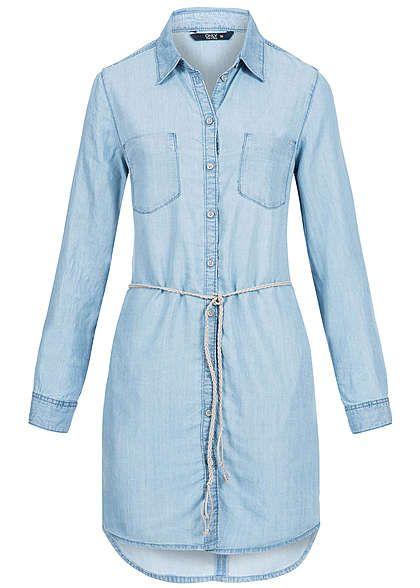ONLY Damen Jeans Kleid 2 Brusttaschen Bindegürtel Knopfleiste hell blau denim…