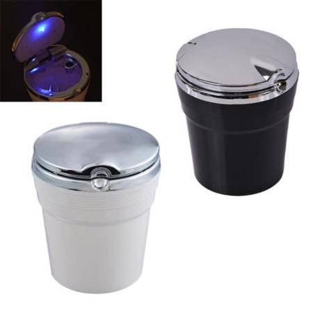 New BD Fashion Office Car Interior Blue LED Light Smokeless Cigarette Holder Cup