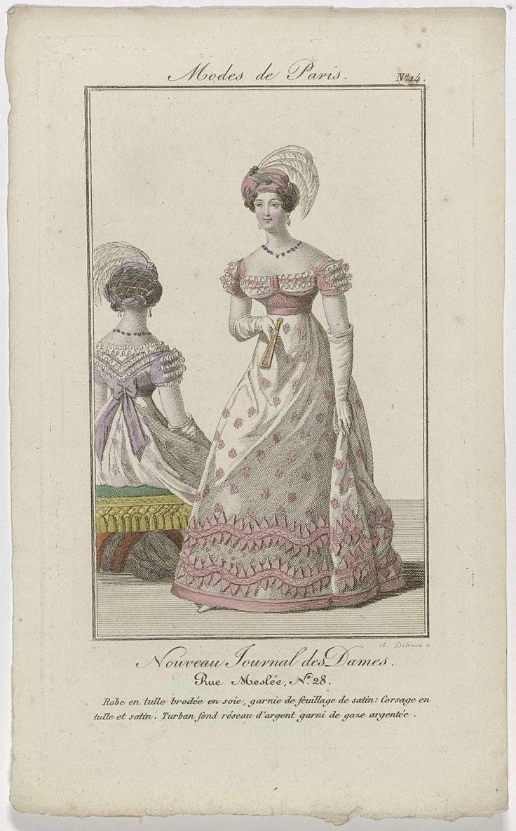 Nouveau Journal des Dames, 1821, Pl. 14 : Robe en tulle brodée en soie..., August Delvaux, Dupré (uitgever), 1821