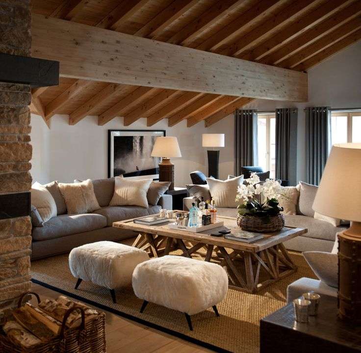 Best 25 chalet style ideas on pinterest ski chalet Modern rustic living room