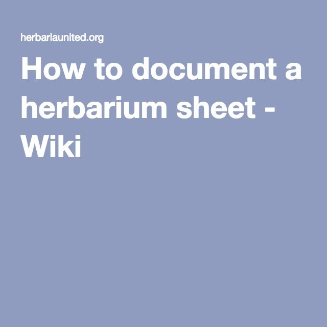 How to document a herbarium sheet - Wiki