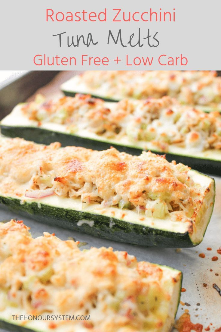 Low carb, healthy gluten free dinner recipe! These Roasted Zucchini Tuna Melts m… – Keto Seafood Recipes