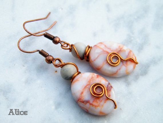 Copper Wire wrapped dangle earrings with Jasper beads di ilSognodiAlice