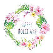 Wesołych Świąt i tropikalne kwiaty Wektor projekt Rama