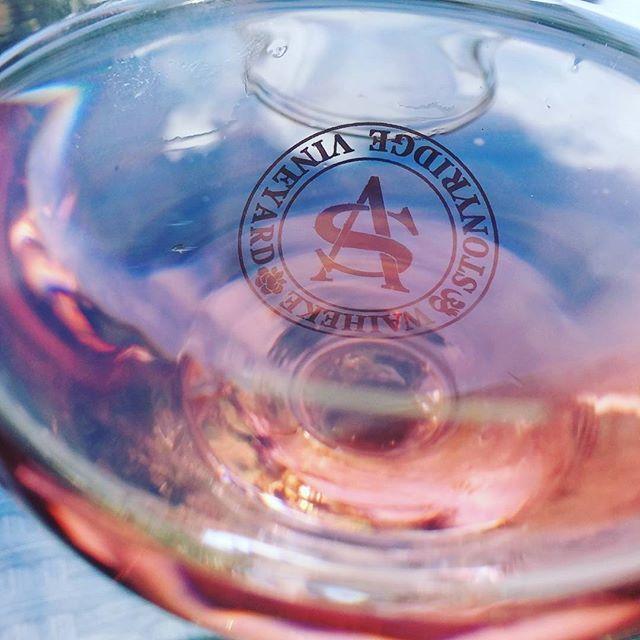 Summer wine Stonyridge Vineyard Fallen Angel Rose  # summer #summerwine #vintage #stonyridge #rosewine #goodwine #rareblend #fallenangel #waiheke_island #waiheke #celebratelife #bluesky #wineoclock