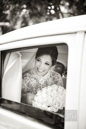Bride in Vintage Limo | photography by http://www.christianothstudio.com