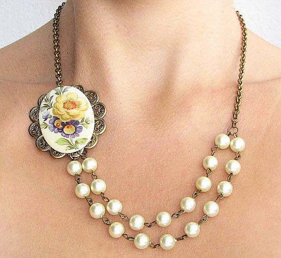 Cameo Jewelry Cameo Necklace Flower Necklace Bib by zafirenia