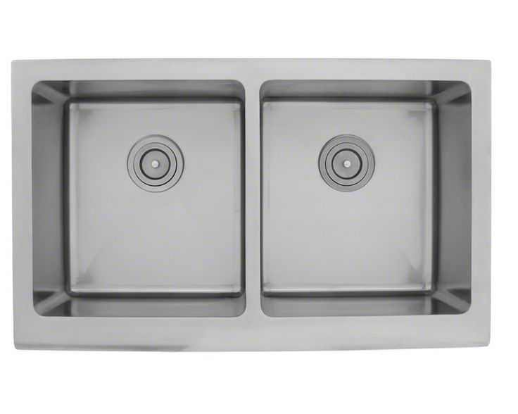 Apron style sinks are now available in stainless steel. The 406 is the identical overall size of the 405 and 407 models, but has been divided into two equal-sized bowls. Manufactured from high-quality, 16-gauge, 304 steel - 25% thicker than standard 18-gauge, means this sink is durable. Most models are made of one-piece construction which ensures the sturdiest kitchen sink you can find. Additionally, the 406 is guaranteed not to rust or stain, is fully insulated, has a sound da...
