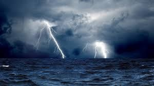 Lightning in the sea