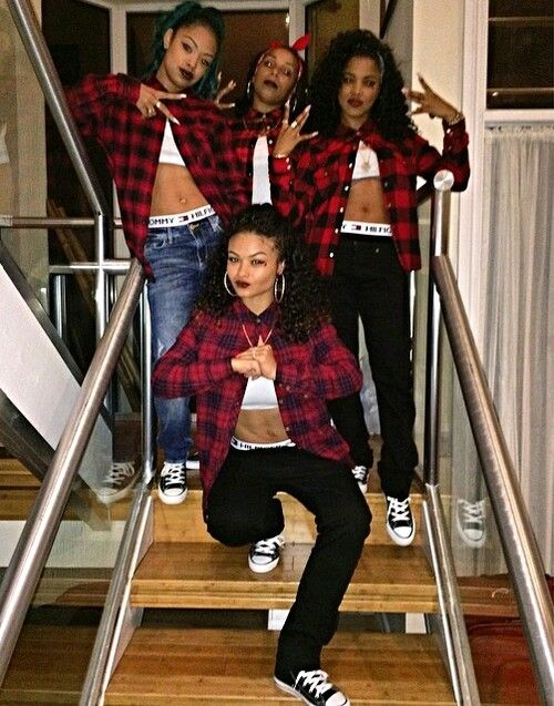 Squad Shxt Plaid Takeover Tommy Hilfiger Boxers Sagging Pants Girl Best Friends Black Converses Crop Top Trend Style Streetwear Denim