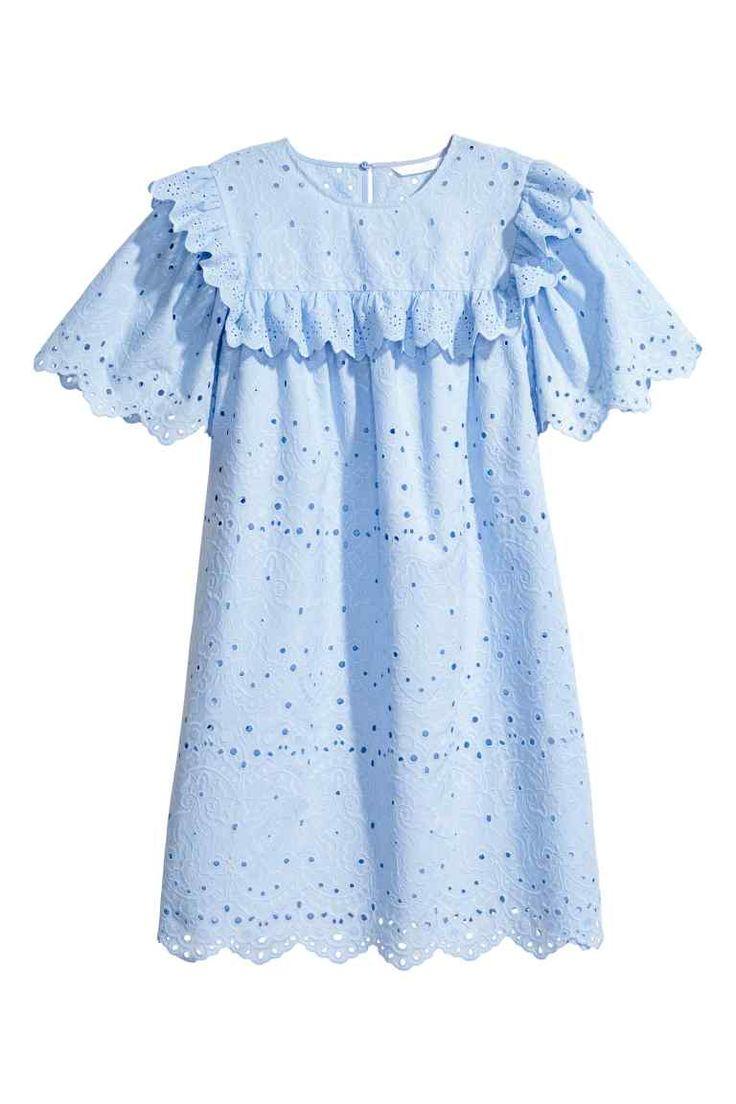 Robe avec broderie anglaise - Bleu clair - FEMME | H&M FR
