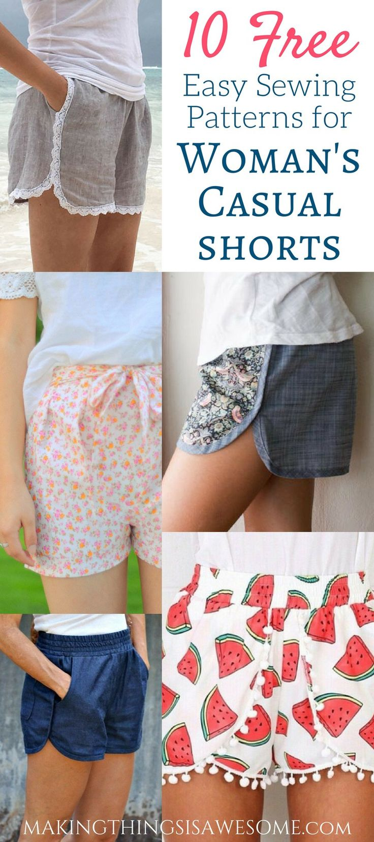 10 Free Woman's Casual Shorts Sewing Patterns: Round-up