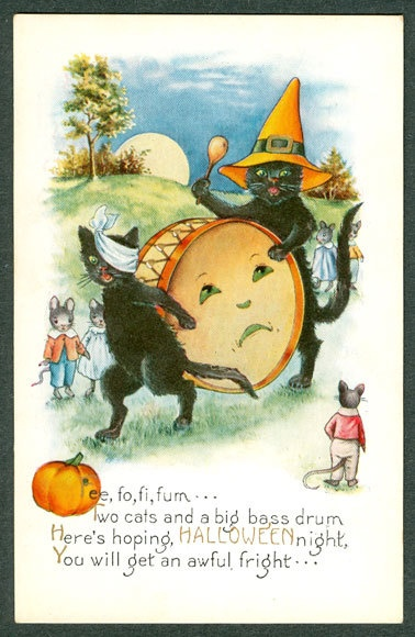 Vintage Embossed Whitney Halloween Postcard Two Black Cats Drum With Face Mice