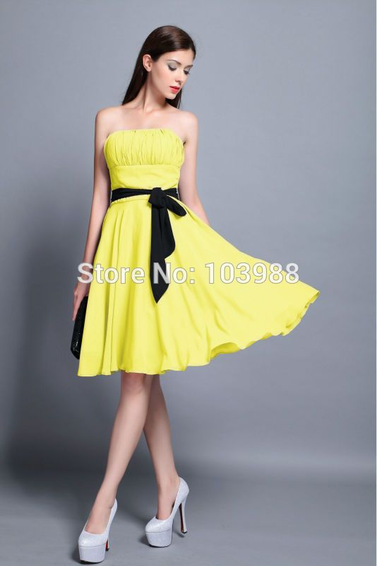 送料無料安い価格クリア証券ショートイブニングウエディングパーティードレスパーティードレス黄色vestidoより色プリーツ001(China (Mainland))