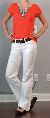 Outfit Posts: outfit post: red t-shirt, white jeans, teal necklace
