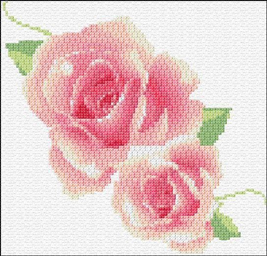 Free Cross Stitch Pattern Flower   322 mm stitch style cross stitch using 2 strands