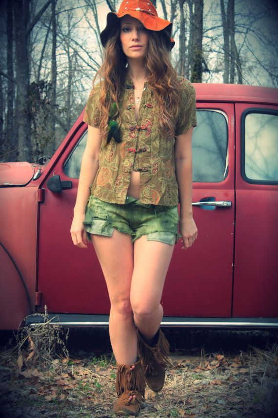 Olive Green Rayon Oriental Button Up Summer by WonderlandRevival, $30.00