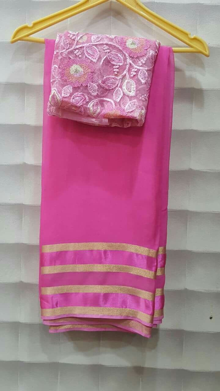 Pure georggete sareees with zari lines border with designer blouses PRICE: 2300+$ Order what'sapp 9573737490