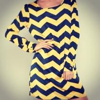 Scoop neck, long sleeve yellow& navy chevron dress  #chevron #longsleeve #yellow #royalblue #dress