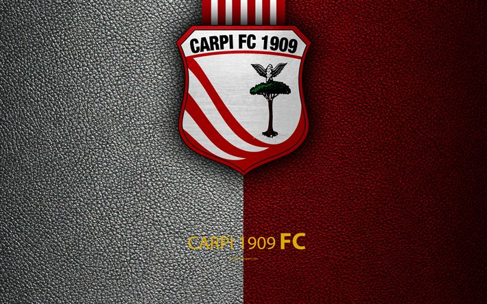 Download wallpapers Carpi FC, 1909, 4k, Italian football club, logo, Carpi, Italy, Serie B, white red leather texture, football, Italian Football Championships