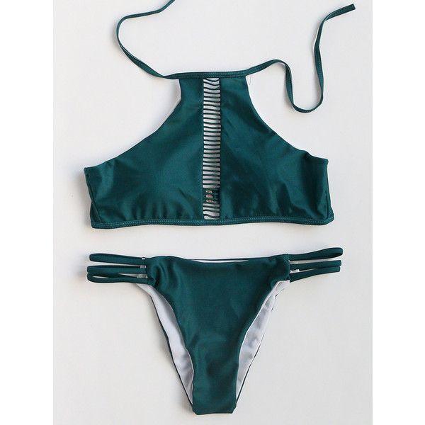 SheIn(sheinside) Dark Green Ladder Cutout Bikini Set (655 DOP) ❤ liked on Polyvore featuring swimwear, bikinis, cut out bikini, beach bikini, halter swimwear, bikini swimwear and cut-out swimwear