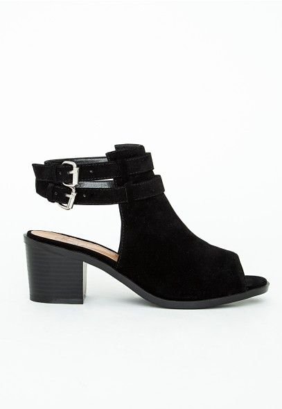 Lily Peep Toe Cut Out Shoe Boots Black - Shoes - Missguided