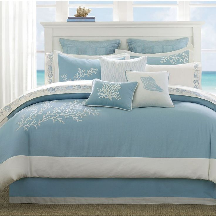 Good Beach Bedroom Furniture: Bedrooms Stunning White Beach Themed Bedroom  Design With Light Blue Bed Cover And White Curtain ~ Ranario
