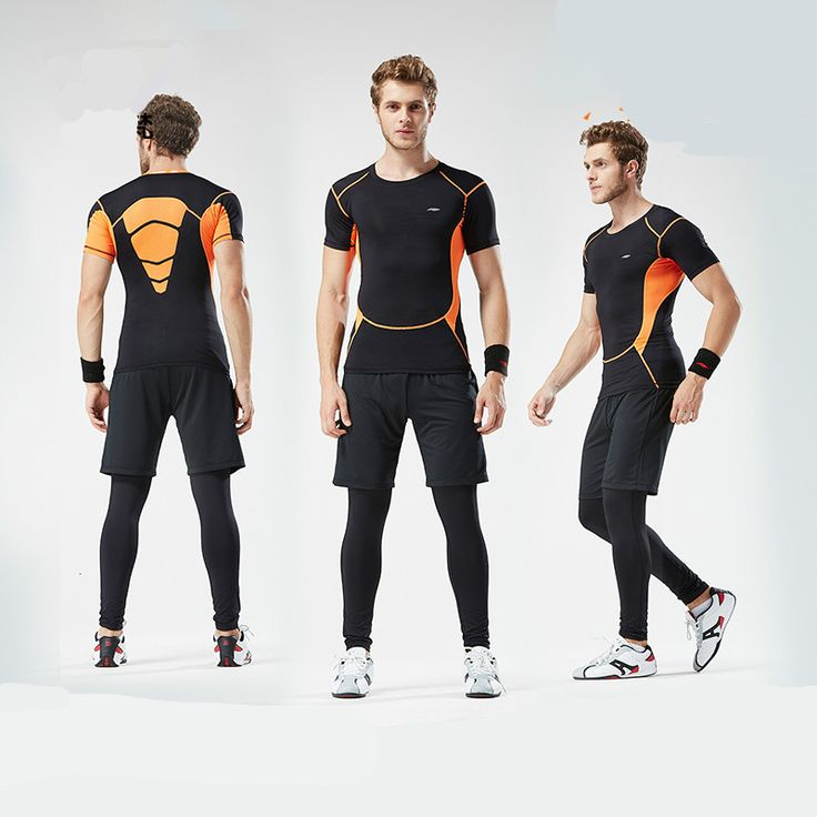Mens Sports Suits Gym Fitness Exercise Running Set Short Compression Tights T Shirt Men Cropped Pants Shorts Fast Dry Sportswear