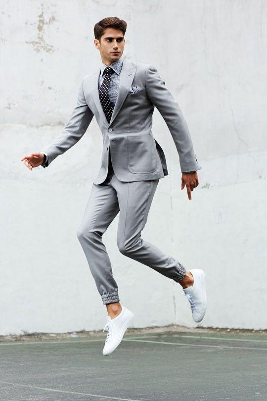 Dove Grey Italian Open Weave Peak Lapel.  Jersey Stretch 2-Piece Jogger Suit