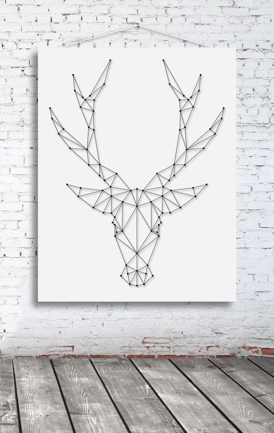 String-art pattern sheet DEER BIG (65 x 50cm) available at spijkerpatroon.nl