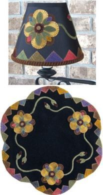 love this idea... Shades of Summer... wool applique lamp shade and candle mat.