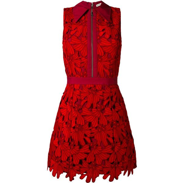 Alice+Olivia floral embroidery dress ($597) ❤ liked on Polyvore featuring dresses, red, alice olivia dress, flower embroidered dress, red dress and floral embroidered dress