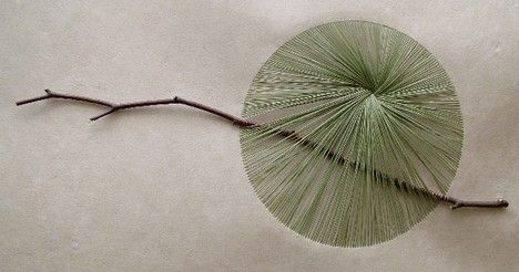 Kazuhito Takadoi considers himself a gardener and an artist. From the vegetation grown in his small garden he creates pictures using leaves, twigs and grasses. He sews the grasses when partially dry through handmade japanese paper. The plants are