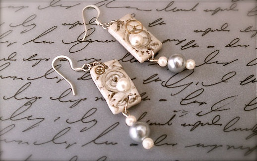 Polymer Clay Jewelry - Steampunk Styled Polymer Clay and Pearl Earrings. $16.00, via Etsy.