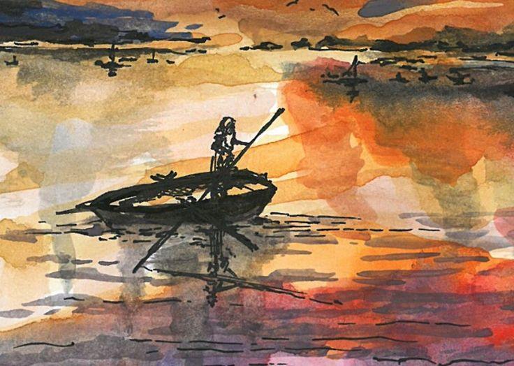 Watercolor Painting ORIGINAL Landscape Sunset Fishing Picture #IllustrationArt
