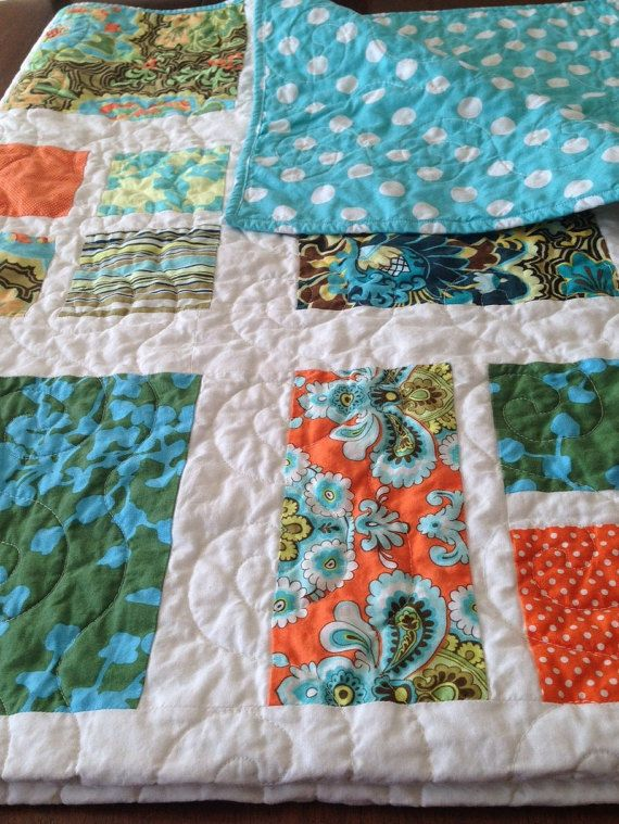 Homemade Quilt Aqua and Orange Quilt 52 x 62 by ShamrockQuilting