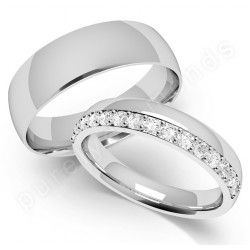 Matching his n hers wedding rings in18ct white gold £1509  http://www.purelydiamonds.co.uk/wedding-rings/his-hers-wedding-rings/pdh016w-18ct-white-gold-matching-diamond-his-hers-wedding-rings.html