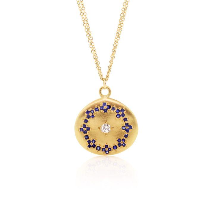 Gorgeous Universe Pendant with blue sapphires by Adel Chefridi #bluesapphirejewelrymeaningandqualities #adelchefridi #askindredspirits