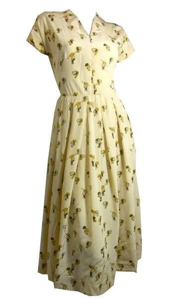 Rare Workmen Novelty Print Silk Dress circa 1940s Dorothea's Closet Vintage Dress